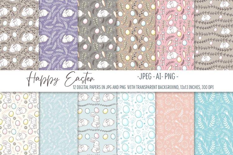 Happy Easter. Easter digital paper set. Seamless pattern