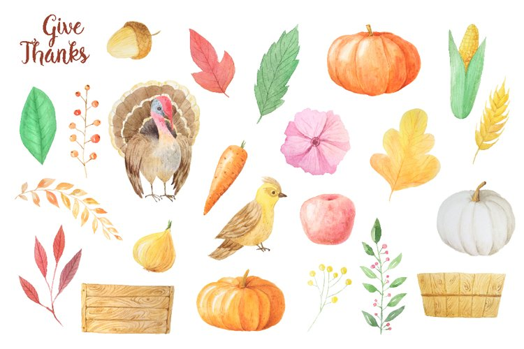 Watercolor Thanks Giving example 1