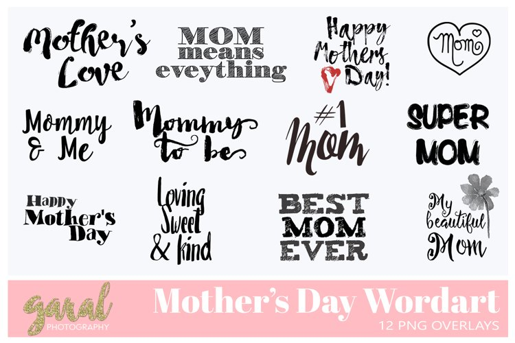 12 MOTHERS DAY WORDART PNG Overlays
