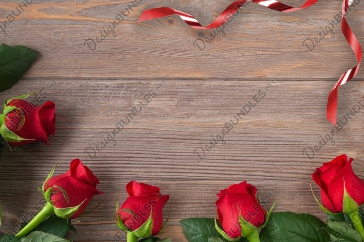 Valentines day background, rose border with ribbon flat lay example image 1