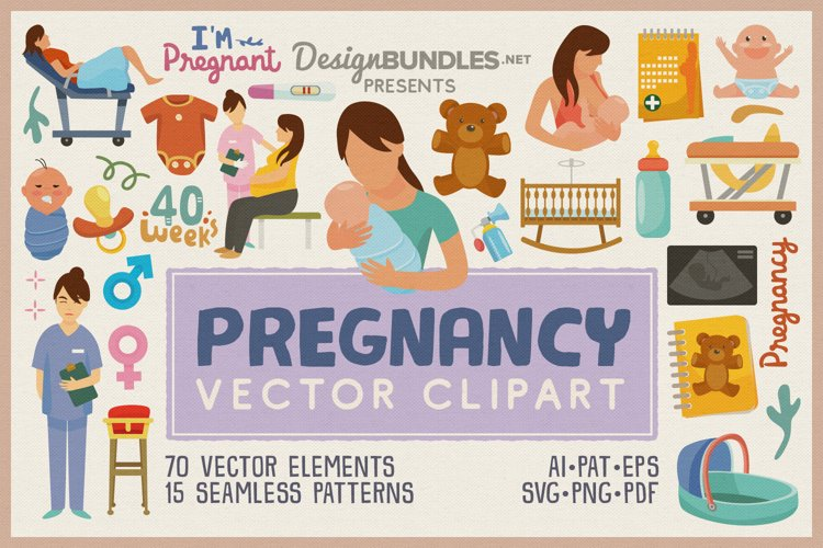 Pregnancy Vector Clipart and Seamless Pattern