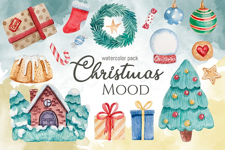 Watercolor mini pack Christmas Mood