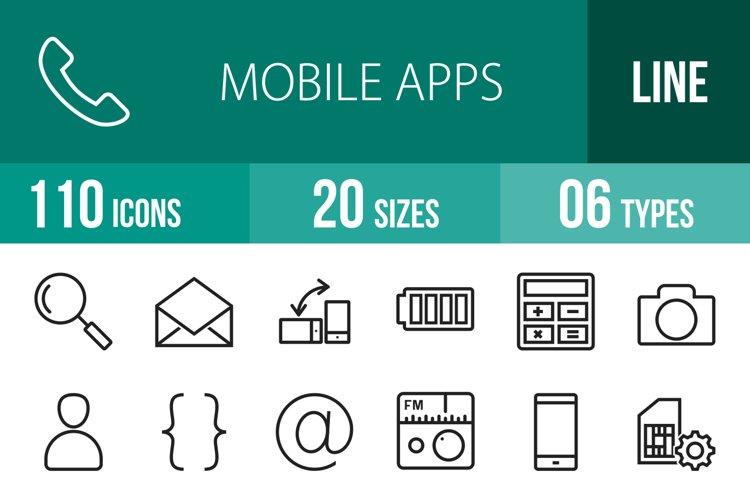 110 Mobile Apps Line Icons example image 1