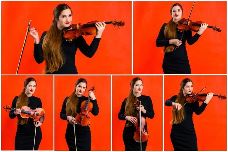 6 stylish conceptual photos of a girl with a violin