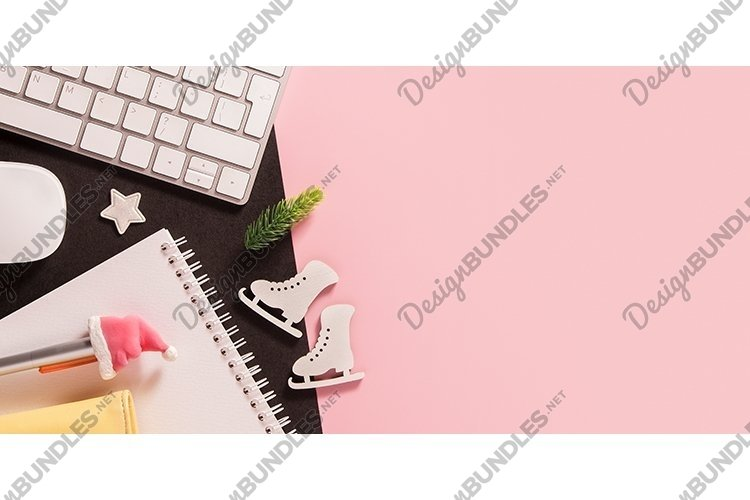Christmas business background with work place copy space