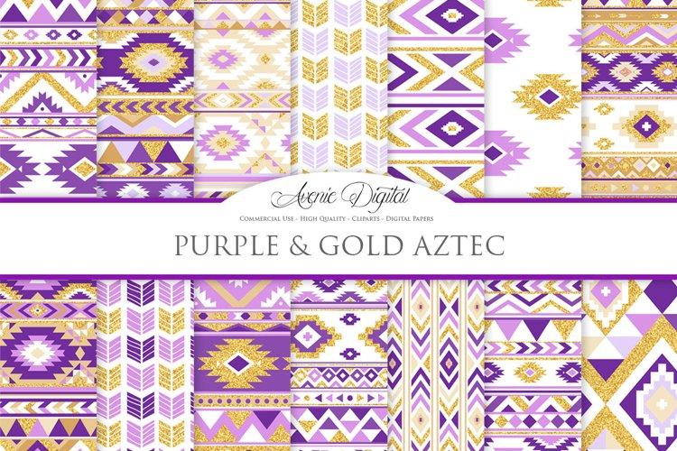 Purple and Gold Glitter Boho Seamless Patterns example image 1