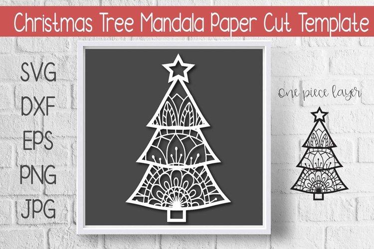 Mandala Christmas Tree Paper Cut Template Design example image 1