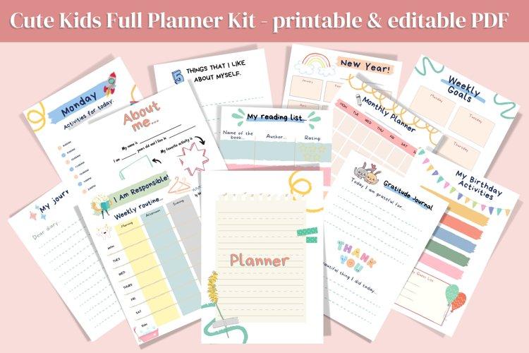 Cute Kids Bullet Journal PDF, Kids Planner PDF, Planner Kit