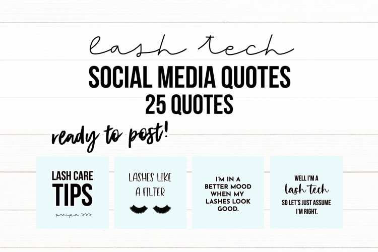 25 x Light Blue Lash Tech Social Media Quotes example image 1