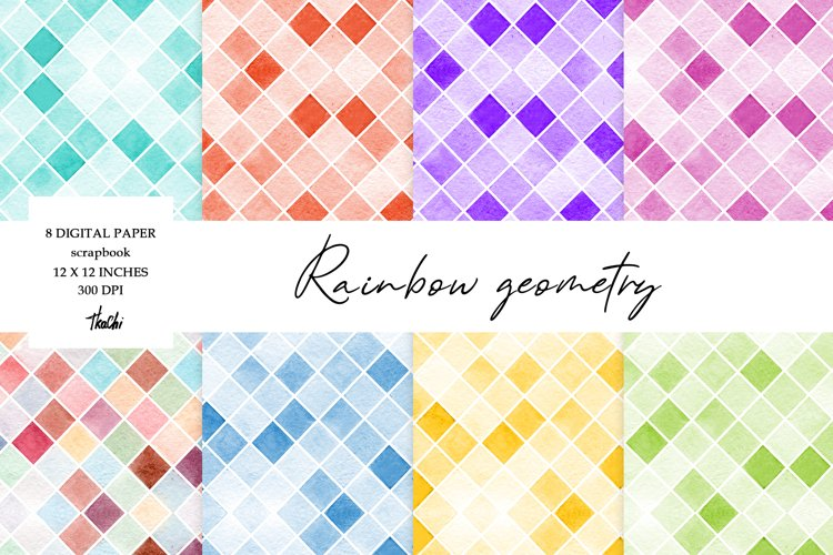 Watercolor abstract digital paper rainbow color