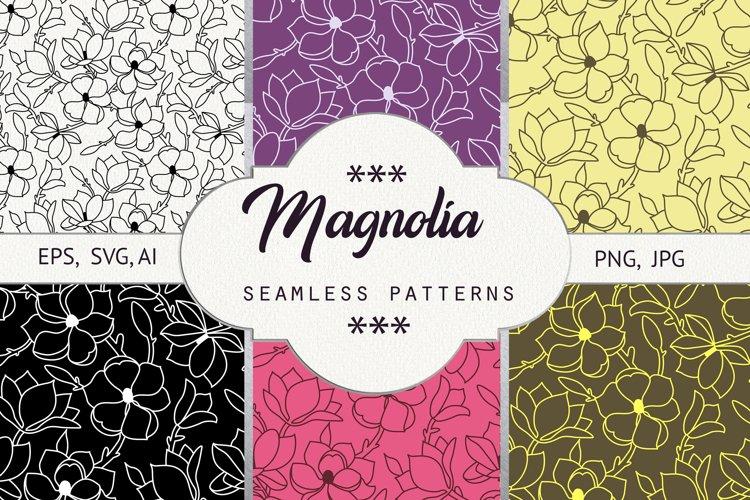 Magnolia. Seamless patterns