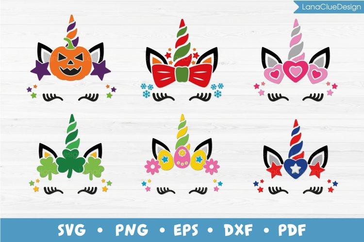 Holiday Unicorns Bundle SVG - 6 designs
