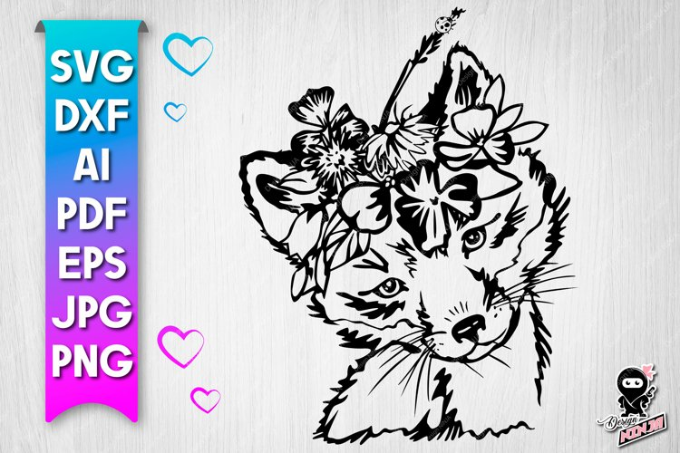 Fox with flowers cut file - svg baby animal example image 1