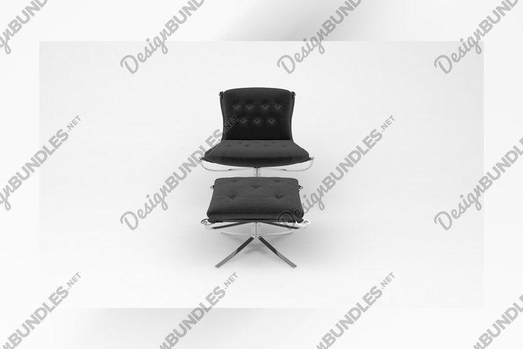 Black steel chair with foot rest front view furniture 3d example image 1