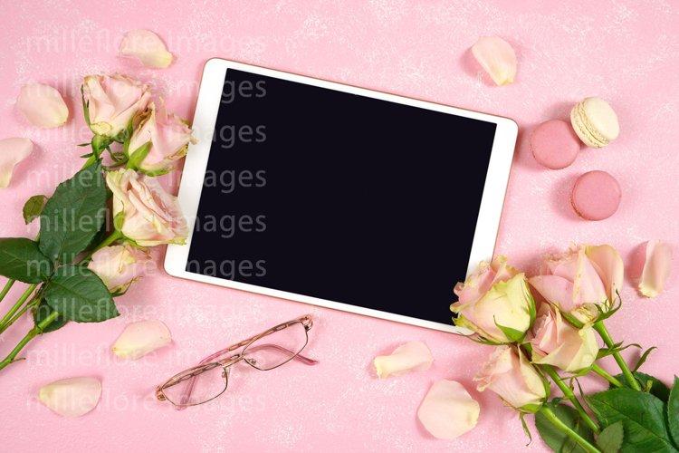 Mothers Day Blush Pink Desktop Tablet Mockup Styled Photo