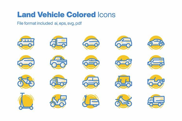 Land Vehicle Colored 20 Icons example image 1