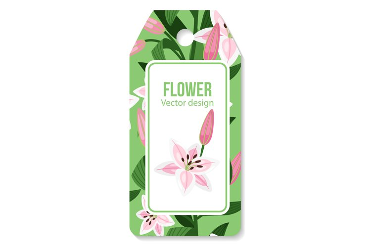Tag with lilies flower pattern example image 1
