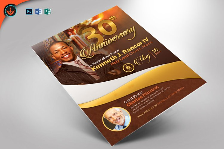 Pastor's Anniversary Church Flyer Photoshop, Word, Publisher example image 1