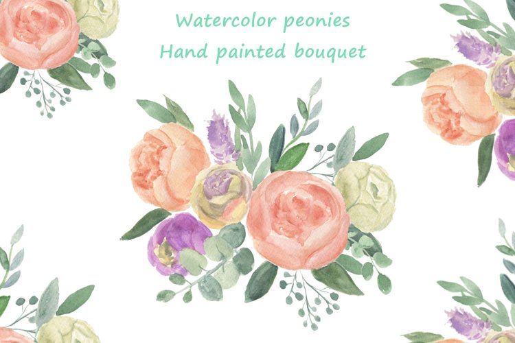 Watercolor bouquet of peony