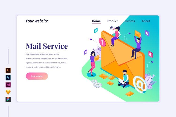 Isometric Mail Services concept Landing page illustration
