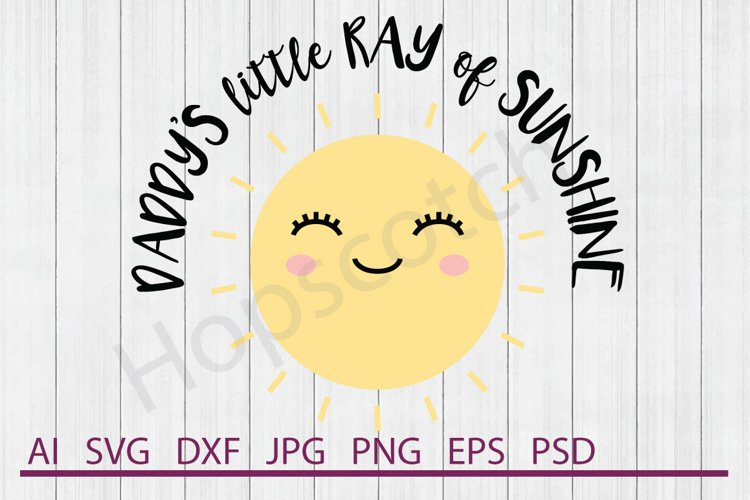 Sun SVG, Little Ray of Sunshine SVG, DXF File, Cuttable File example image 1