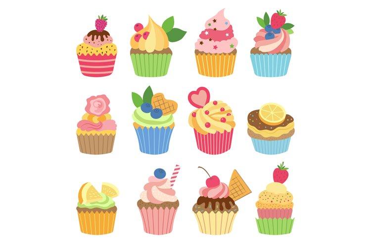 Wedding vanilla cupcakes isolated on white background. Vecto example image 1