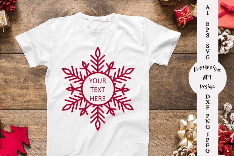 Christmas wreath svg, Snowflake monogram frame svg example image 1