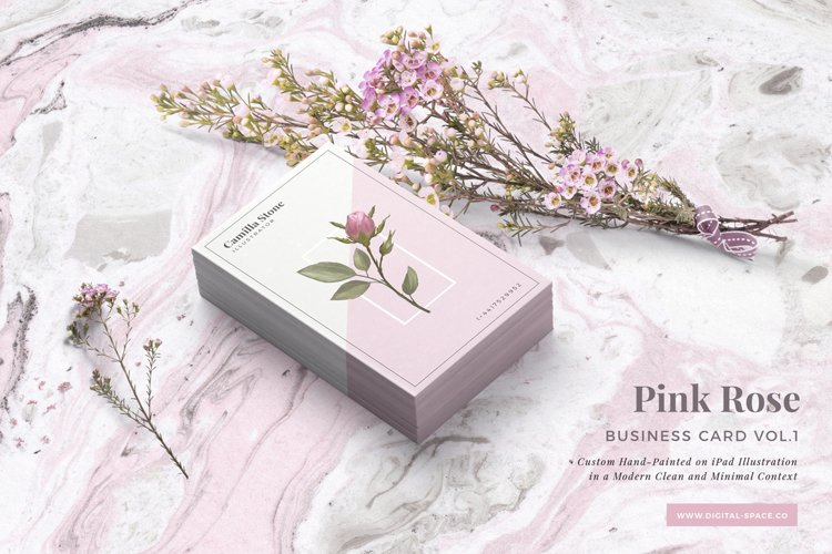 Pink Rose Business Card Template example image 1