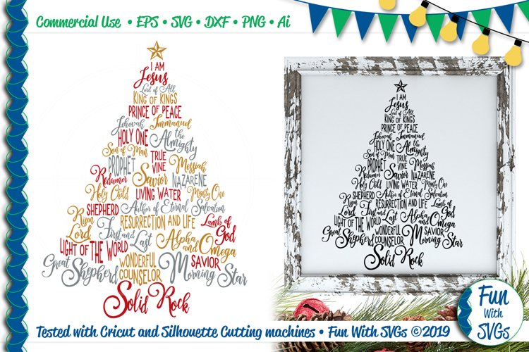 Names of Jesus Christmas Tree SVG & Printable File Included example image 1