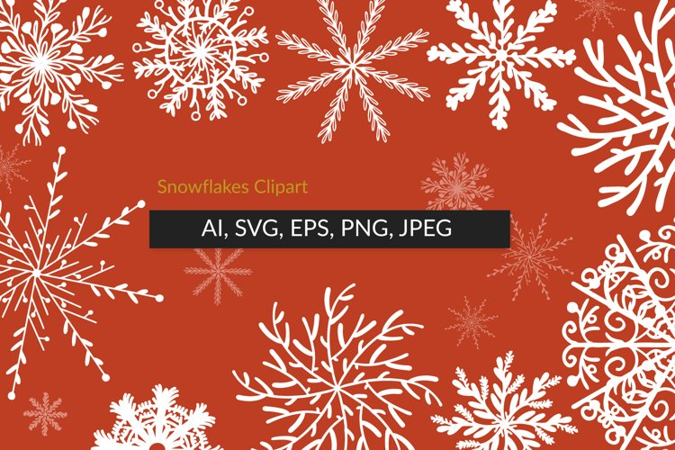 Snowflakes Clipart - Christmas bundle SVG, bonus pattern