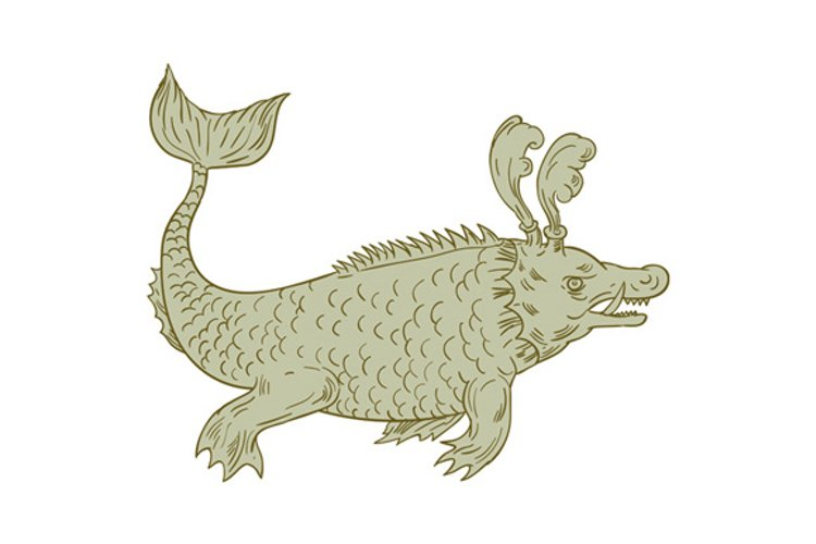 Ancient Sea Monster Drawing example image 1