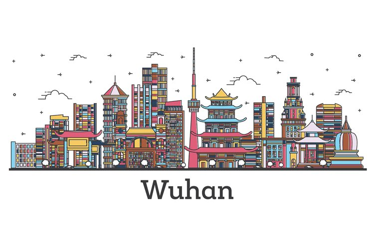 Outline Wuhan China City Skyline with Color Buildings example image 1