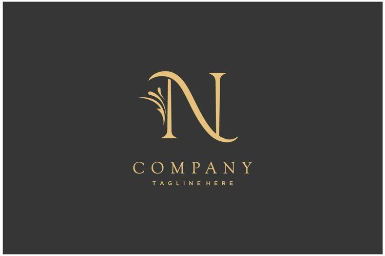 Luxury letter initial N royal gold logo design inspiration