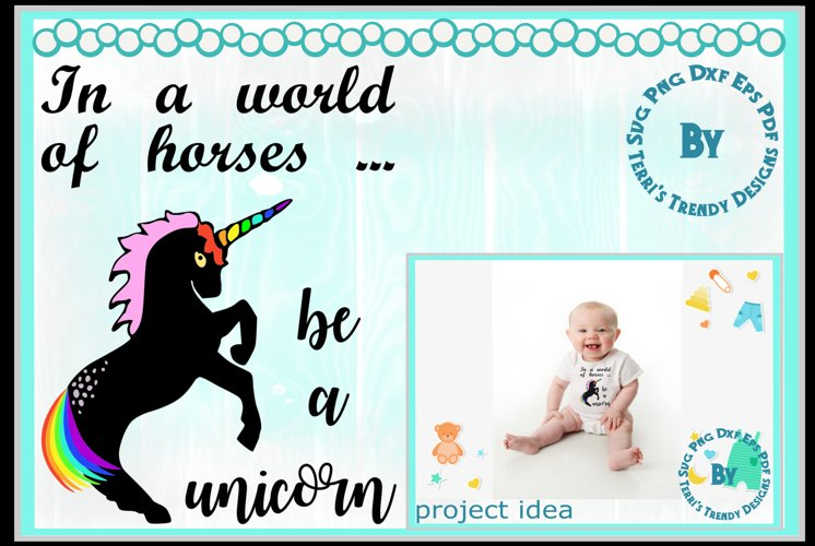 In a world of horses be a unicorn rainbow child gift quote example image 1