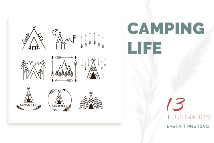 Camping life Graphic. 13 illustration in doodle style example image 1