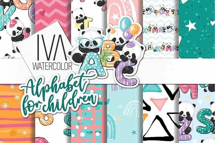 Alphabet Letters digital paper pack, Panda digital paper example image 1