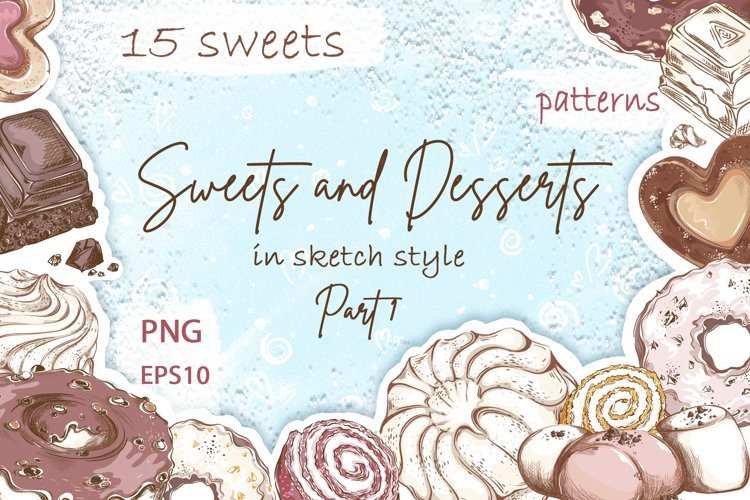 Sweets and Desserts. Sketch stickers. Part 1 example image 1