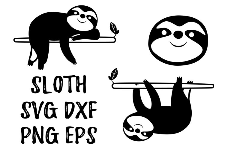 Sloth svg, png clipart. Animal svg, dxf file for cricut example image 1