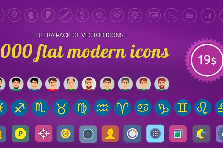 2000 flat modern vector icons for just $19