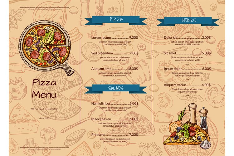 Vector italian pizza restaurant menu template with hand draw example image 1
