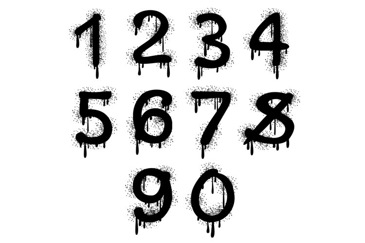 Grunge vector numbers with splatter text effect example image 1