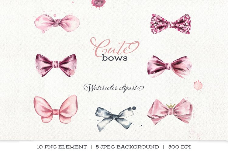 Watercolor cute pink bows, sequins, splashes.