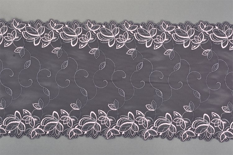 pink gray straight strip of lace fabric. Texture for web example image 1