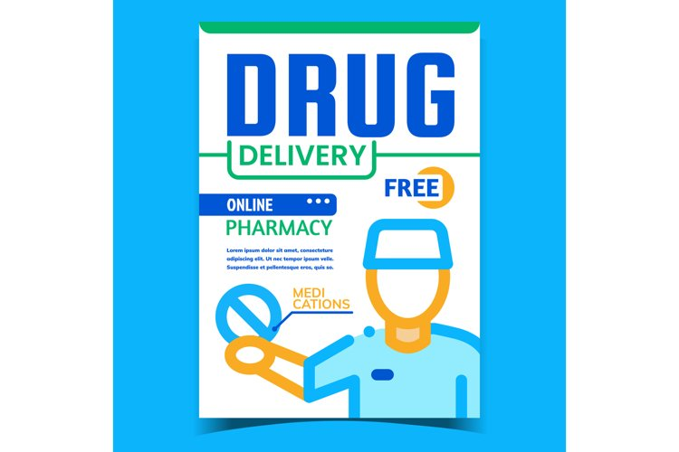 Drug Delivery Creative Advertising Banner Vector example image 1
