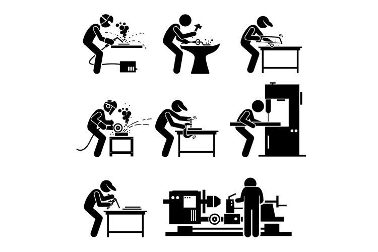 Welder Worker using Metalworking Steelworks Tools Pictogram example image 1