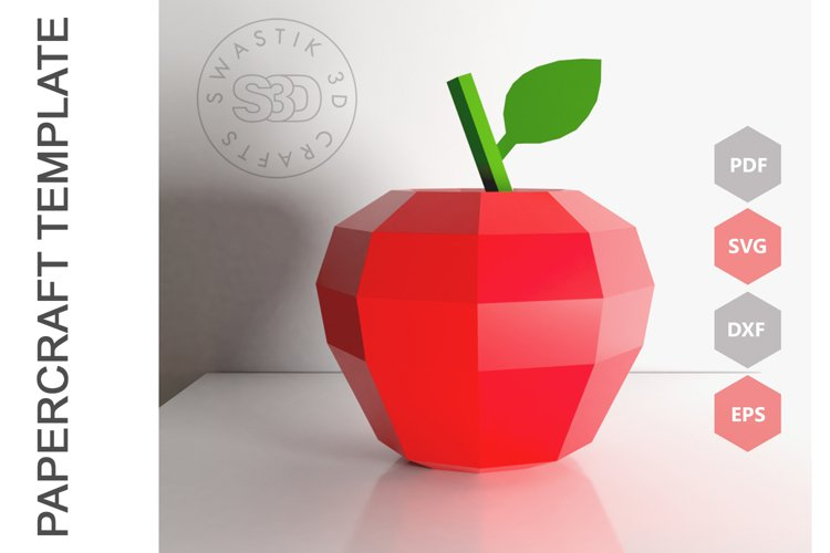 PDF Template of Apple fruit papercraft template / 3D craft example image 1