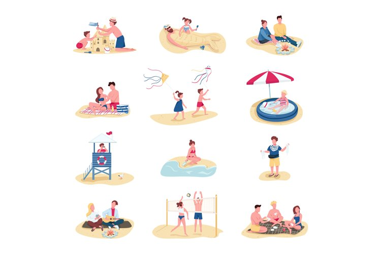 Beach activities flat color vector faceless characters set example image 1