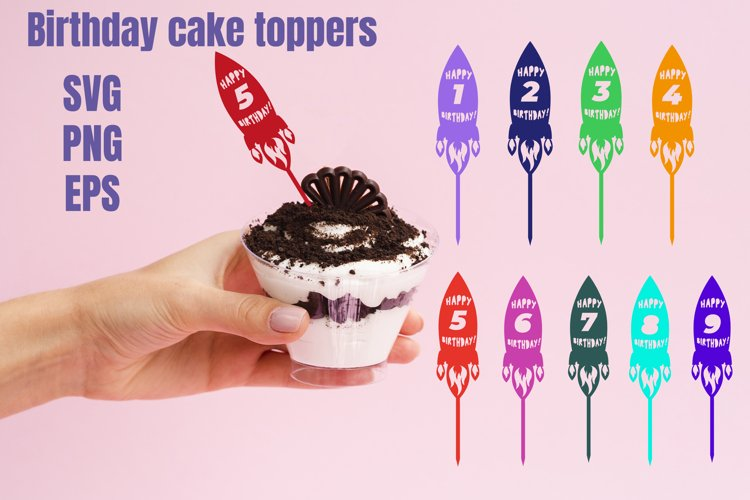 Birthday cake toppers rocket with numbers SVG example