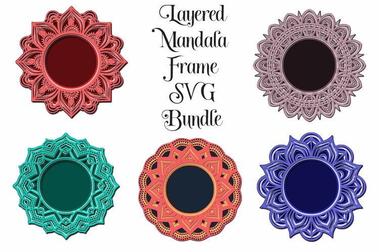 Layered Mandala Frame SVG Bundle - 3D Layered Mandalas example image 1