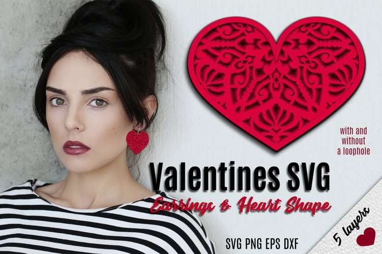 Valentines SVG | Earrings and Heart Shape example image 1